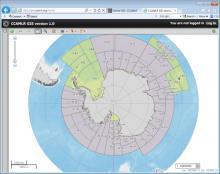Capture d'écran d'une image de l'océan Austral produite par le SIG