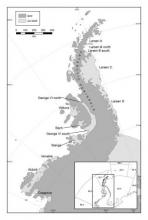 Locations and extent of ice shelves, glaciers and ice tongues in Statistical Subareas 48.1, 48.5 and 88.3. Coastline data from the SCAR Antarctic Digital Database version 7 (2016)